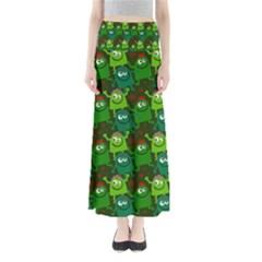 Seamless Little Cartoon Men Tiling Pattern Maxi Skirts