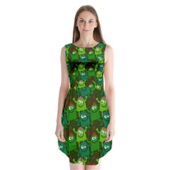 Seamless Little Cartoon Men Tiling Pattern Sleeveless Chiffon Dress