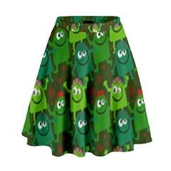 Seamless Little Cartoon Men Tiling Pattern High Waist Skirt
