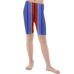 Colorful Stripes Background Kids  Mid Length Swim Shorts