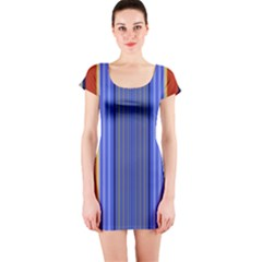 Colorful Stripes Background Short Sleeve Bodycon Dress