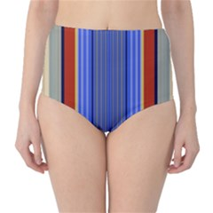 Colorful Stripes Background High-Waist Bikini Bottoms