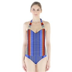 Colorful Stripes Background Halter Swimsuit