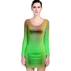 November Blurry Brilliant Colors Long Sleeve Bodycon Dress