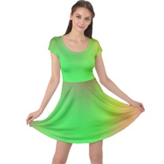 November Blurry Brilliant Colors Cap Sleeve Dresses