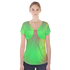 November Blurry Brilliant Colors Short Sleeve Front Detail Top