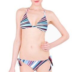 Wavy Stripes Background Bikini Set