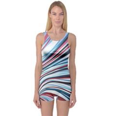 Wavy Stripes Background One Piece Boyleg Swimsuit