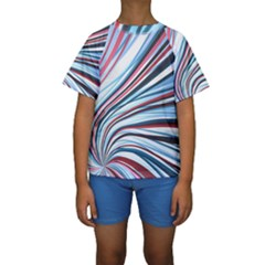 Wavy Stripes Background Kids  Short Sleeve Swimwear