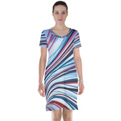 Wavy Stripes Background Short Sleeve Nightdress