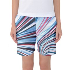 Wavy Stripes Background Women s Basketball Shorts
