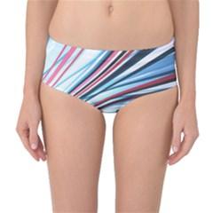 Wavy Stripes Background Mid Waist Bikini Bottoms