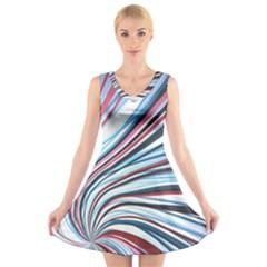 Wavy Stripes Background V Neck Sleeveless Skater Dress