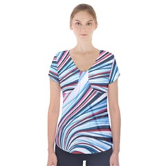Wavy Stripes Background Short Sleeve Front Detail Top