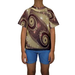 Space Fractal Abstraction Digital Computer Graphic Kids  Short Sleeve Swimwear