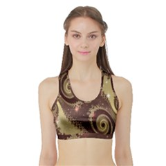 Space Fractal Abstraction Digital Computer Graphic Sports Bra With Border