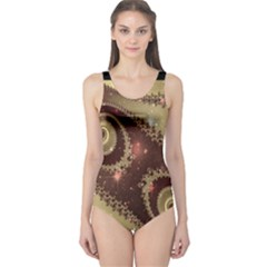 Space Fractal Abstraction Digital Computer Graphic One Piece Swimsuit