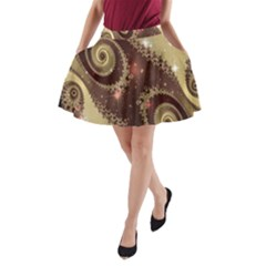 Space Fractal Abstraction Digital Computer Graphic A-Line Pocket Skirt