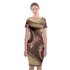 Space Fractal Abstraction Digital Computer Graphic Classic Short Sleeve Midi Dress