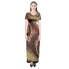Space Fractal Abstraction Digital Computer Graphic Short Sleeve Maxi Dress