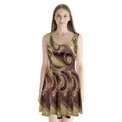 Space Fractal Abstraction Digital Computer Graphic Split Back Mini Dress