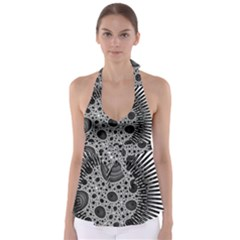 Fractal Background Black Manga Rays Babydoll Tankini Top
