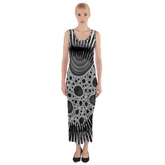 Fractal Background Black Manga Rays Fitted Maxi Dress