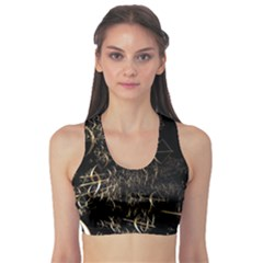 Golden Bows And Arrows On Black Sports Bra