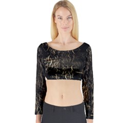 Golden Bows And Arrows On Black Long Sleeve Crop Top