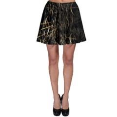 Golden Bows And Arrows On Black Skater Skirt