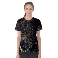 Golden Bows And Arrows On Black Women s Cotton Tee