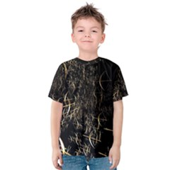 Golden Bows And Arrows On Black Kids  Cotton Tee