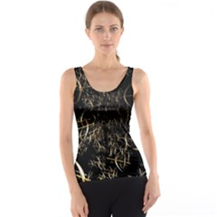 Golden Bows And Arrows On Black Tank Top