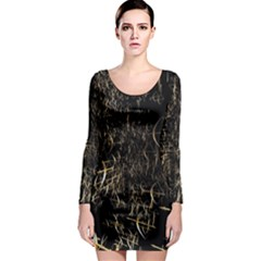 Golden Bows And Arrows On Black Long Sleeve Bodycon Dress