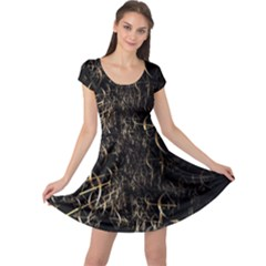 Golden Bows And Arrows On Black Cap Sleeve Dresses