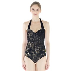 Golden Bows And Arrows On Black Halter Swimsuit