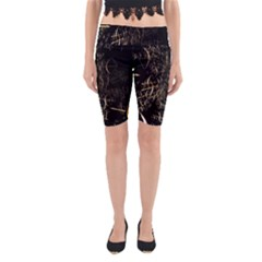 Golden Bows And Arrows On Black Yoga Cropped Leggings