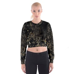 Golden Bows And Arrows On Black Women s Cropped Sweatshirt