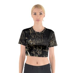 Golden Bows And Arrows On Black Cotton Crop Top
