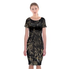 Golden Bows And Arrows On Black Classic Short Sleeve Midi Dress