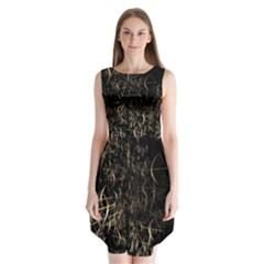 Golden Bows And Arrows On Black Sleeveless Chiffon Dress
