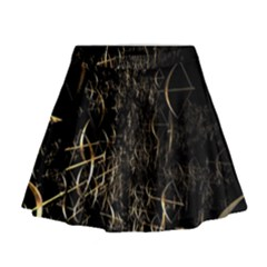 Golden Bows And Arrows On Black Mini Flare Skirt