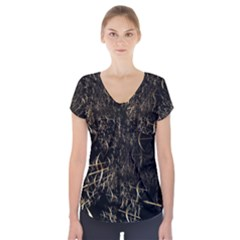 Golden Bows And Arrows On Black Short Sleeve Front Detail Top
