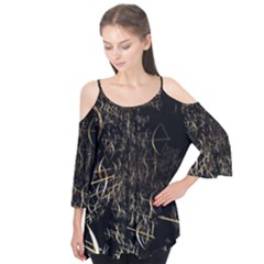 Golden Bows And Arrows On Black Flutter Tees