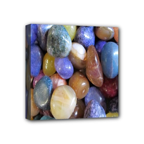 Rock Tumbler Used To Polish A Collection Of Small Colorful Pebbles Mini Canvas 4  X 4