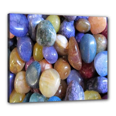 Rock Tumbler Used To Polish A Collection Of Small Colorful Pebbles Canvas 24  X 20