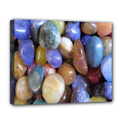 Rock Tumbler Used To Polish A Collection Of Small Colorful Pebbles Deluxe Canvas 20  X 16