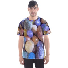 Rock Tumbler Used To Polish A Collection Of Small Colorful Pebbles Men s Sport Mesh Tee