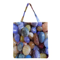 Rock Tumbler Used To Polish A Collection Of Small Colorful Pebbles Grocery Tote Bag