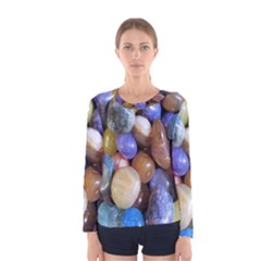Rock Tumbler Used To Polish A Collection Of Small Colorful Pebbles Women s Long Sleeve Tee